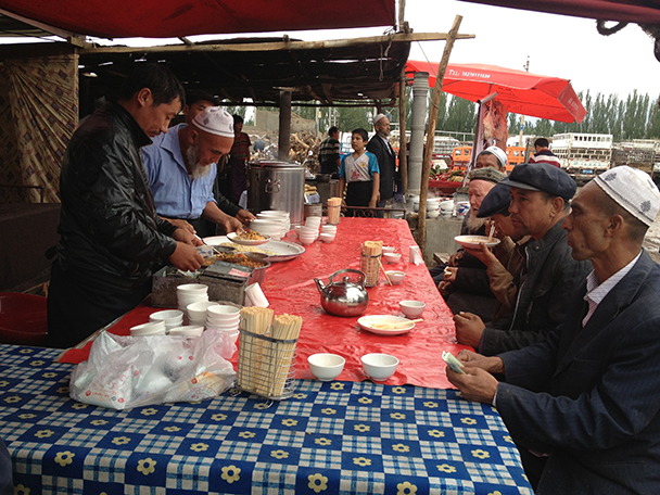 Breakfast, Beijing Hikers Korla to Kashgar 2013/06/10