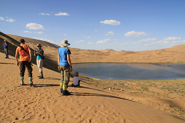 We climbed a dune for views of a desert lake …, Badain Jaran Desert and Zhangye Danxia Landform, 2013/09