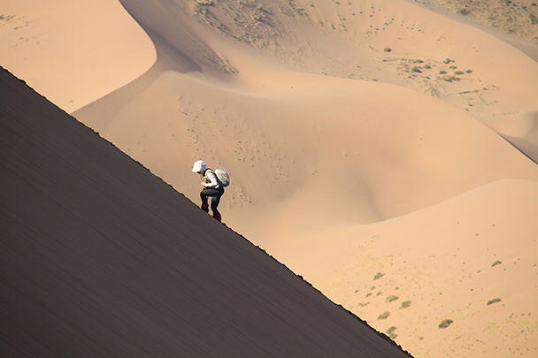We said it was a tough climb, Badain Jaran Desert and Zhangye Danxia Landform, 2013/09