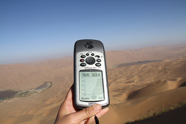 The GPS measurement of our climb, Badain Jaran Desert and Zhangye Danxia Landform, 2013/09