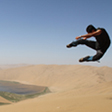Flying kick in the desert, Badain Jaran Desert and Zhangye Danxia Landform, 2013/09
