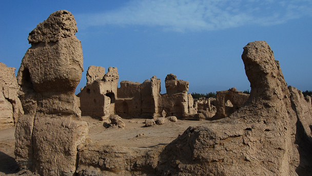 Old earthen structures at the Jiaohe ruins, Beijing Hiker's Journey from the West, 2013/10