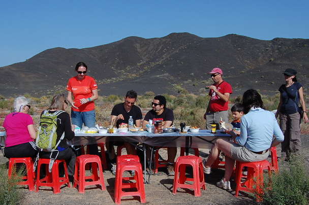 A picnic break for lunch at the 'Black Rock' mountains, Beijing Hiker's Journey from the West, 2013/10