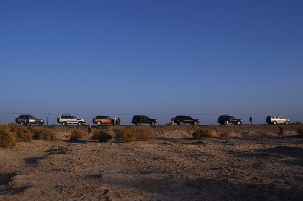 Our jeeps lined up nicely, Beijing Hiker's Journey from the West, 2013/10