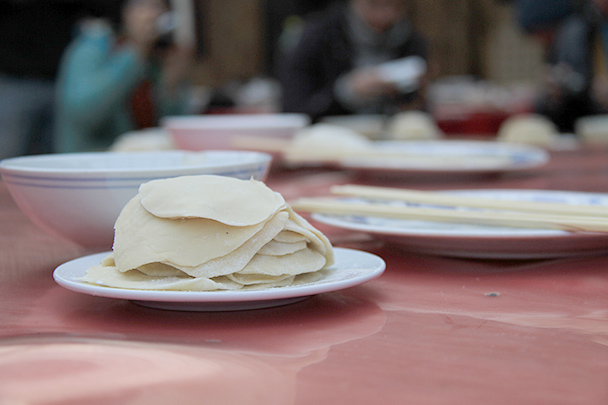 Dumpling skins, ready for the competition, Gubeikou Great Wall loop hike, 2013/12/21