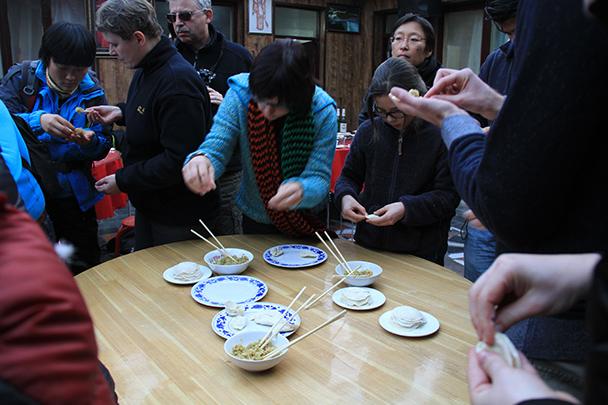 Making a few test dumplings, Gubeikou Great Wall loop hike, 2013/12/21