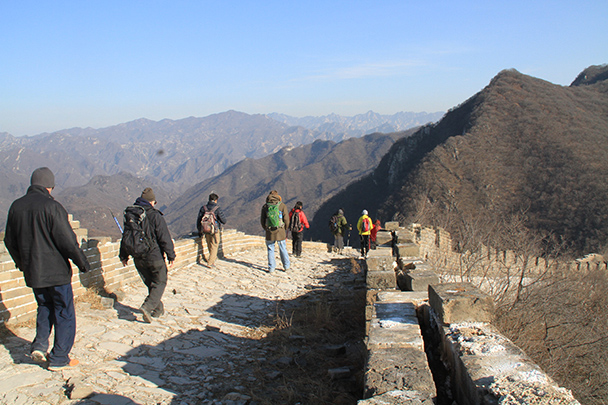 After a break at the first tower we continued our hike - Jiankou to Mutianyu Great Wall, 2014/01/12