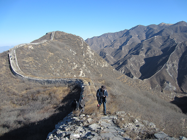 The Great Wall runs along many of the ridgelines in this area.- Stone Valley Great Wall, 2014/01/12