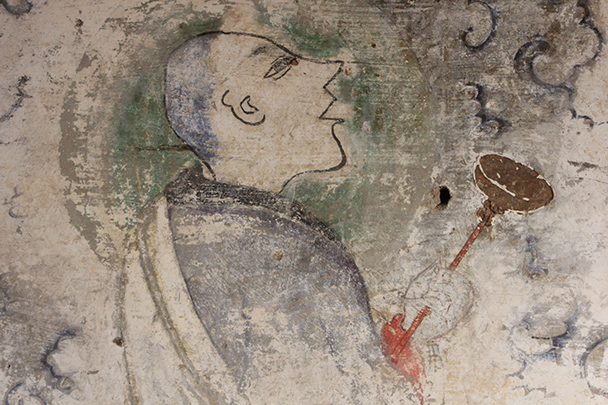 Monk in a temple mural, Yu County Ancient Towns and Fortresses overnight, 2014/02