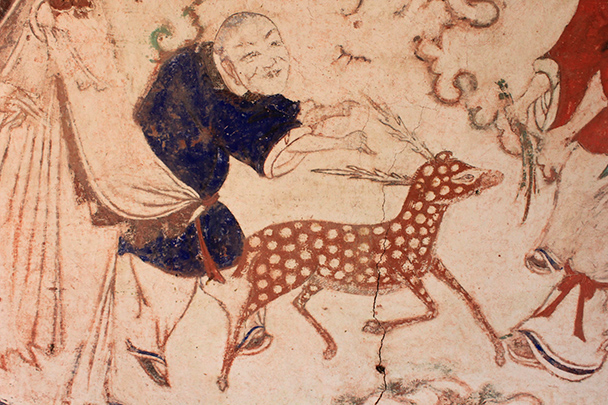 A deer in a temple mural, Yu County Ancient Towns and Fortresses overnight, 2014/02