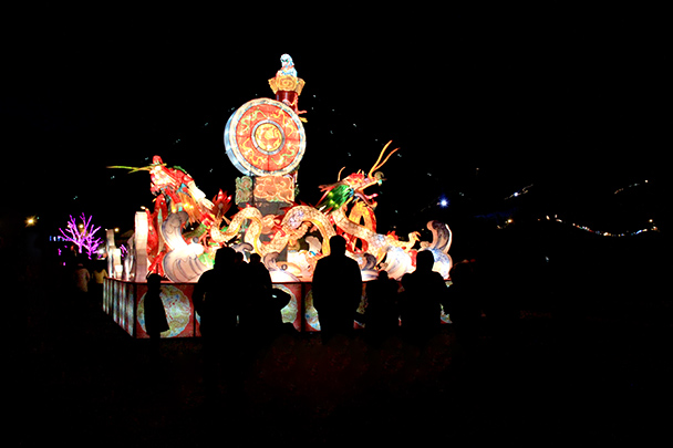 A dragon lantern at the Ice Festival - Tang Dynasty Caves and Longqingxia Ice Festival, 2014/02/08