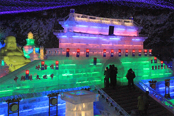 Ice sculpture of the big gate at Tian'anmen Square - Tang Dynasty Caves and Longqingxia Ice Festival, 2014/02/08