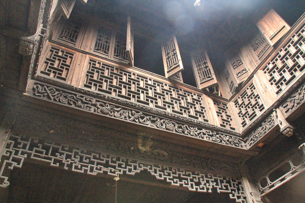 Inside, more complicated woodwork - Wuyuan County, Jiangxi Province, 2014/03