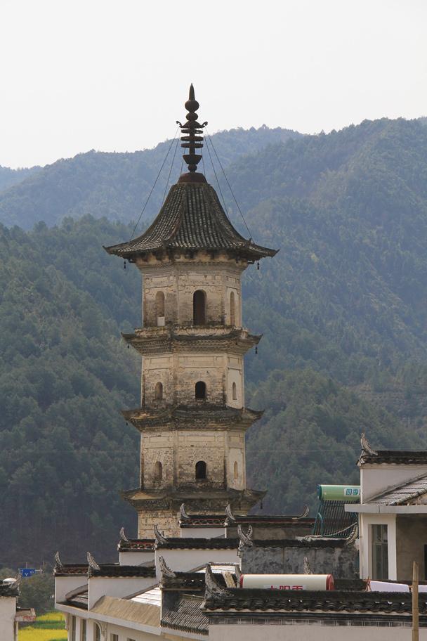 A pagoda that belongs to a Buddhist temple - Wuyuan County, Jiangxi Province, 2014/03
