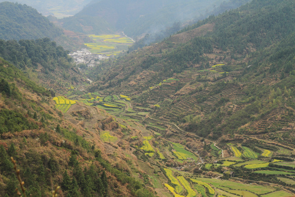 Looking down the terraced valley - Wuyuan County, Jiangxi Province, 2014/03