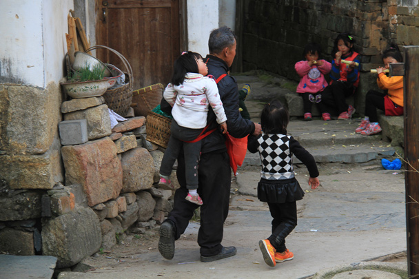 Taking the kids (or maybe grandchildren?) for a walk - Wuyuan County, Jiangxi Province, 2014/03