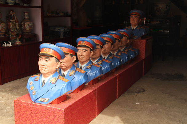 Back in Jingdezhen, we spotted a set of ceramic busts. These ten fine fellows are the Grand Marshals who founded the People's Republic of China - Wuyuan County, Jiangxi Province, 2014/03
