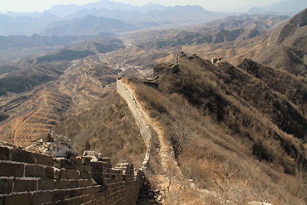 Looking back down the Great Wall - Bricks in the Wall hike, 2014/03/15