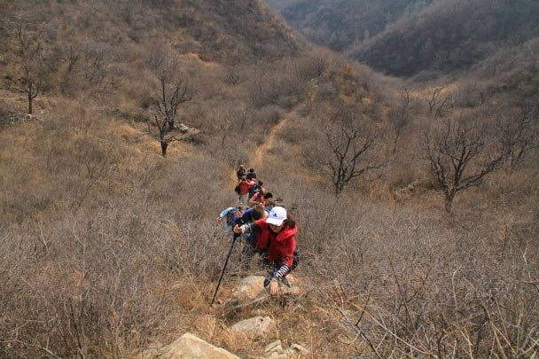Hikers on the way up and over the first hill; one of the toughest parts of the trail - A Long Way to Pray for Rain, 2014/03/16