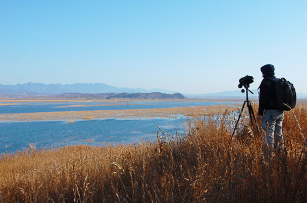 From the top of a hill, we enjoyed views of the whole reservoir - Miyun Birdwatching overnighter, 2014/03/29-30