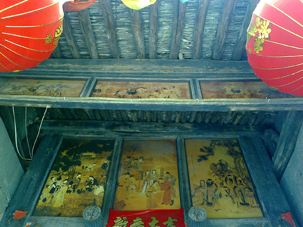 Old and delicate paintings on the eaves of one of the old courtyard houses - Coffin Village visit, 2014/04/02