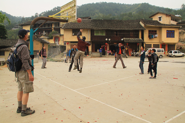 We took over the basketball court - Hakka Tulou Clusters and Xiamen, Fujian Province, 2014/04