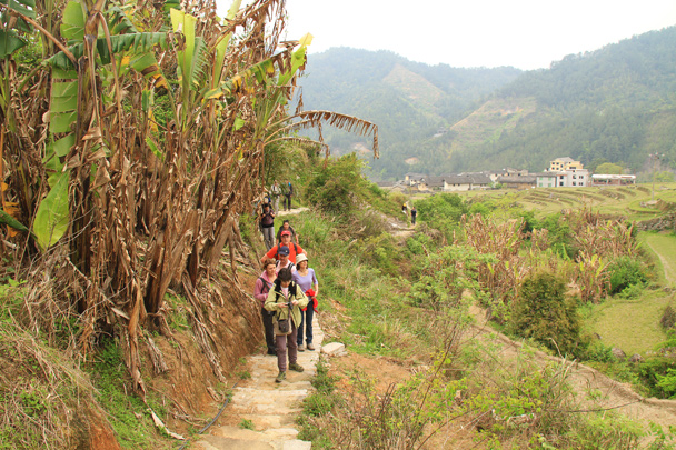 An easy walk up into the hills behind the village, following trails past rice paddys - Hakka Tulou Clusters and Xiamen, Fujian Province, 2014/04