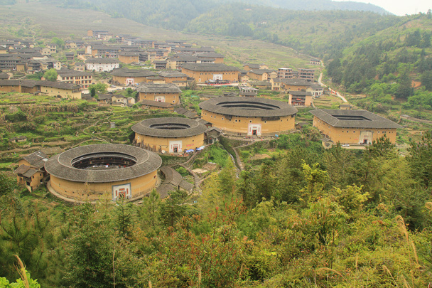 A view from above of the Chuxi tulou cluster - Hakka Tulou Clusters and Xiamen, Fujian Province, 2014/04