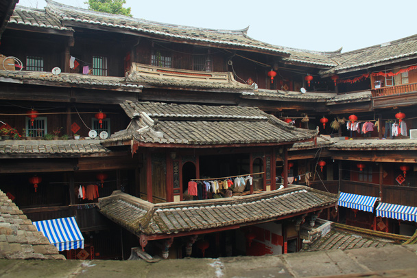 Balconies and halls inside a square-shaped tulou building - Hakka Tulou Clusters and Xiamen, Fujian Province, 2014/04