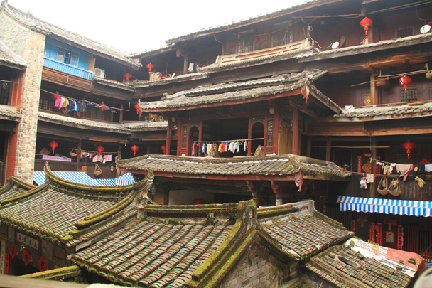 Very ornate architecture, all constructed with wooden joints and pins - Hakka Tulou Clusters and Xiamen, Fujian Province, 2014/04