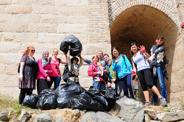 The clean up crew posing with a few of the bags we filled - Earth Day clean up hike photos, 2014/04/20