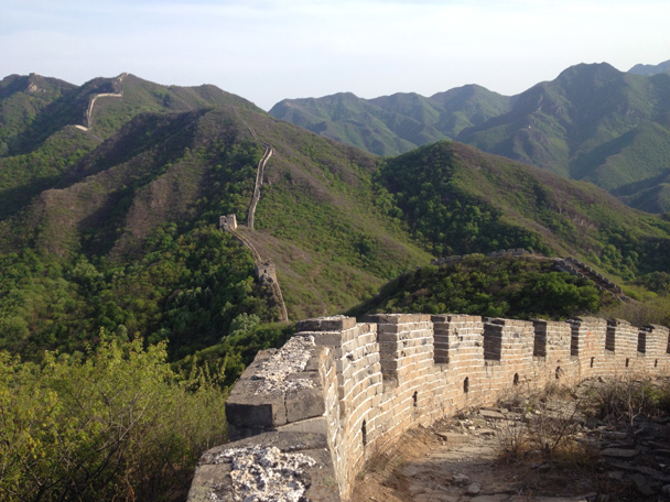 A view of the Great Wall from near the starting point of our hike - Middle Switchback Great Wall camping trip, April 26-27, 2014