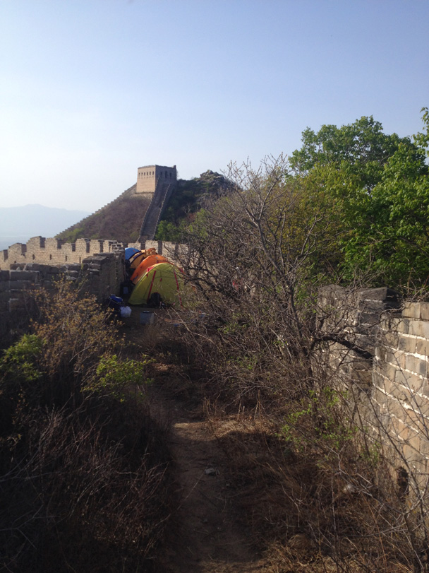 Our campsite on the wall - Middle Switchback Great Wall camping trip, April 26-27, 2014