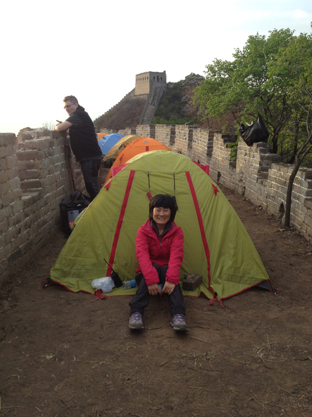 Hiking guide Tina has her tent all set up - Middle Switchback Great Wall camping trip, April 26-27, 2014