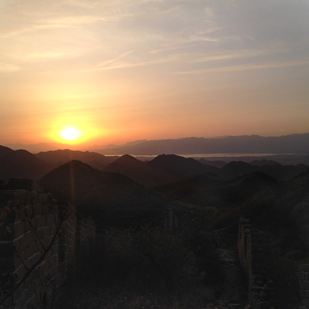 We watched the sun set from the Great Wall - Middle Switchback Great Wall camping trip, April 26-27, 2014