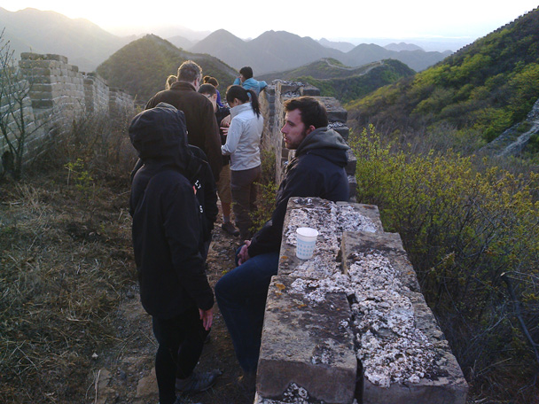 Relaxing near the campsite - Middle Switchback Great Wall camping trip, April 26-27, 2014