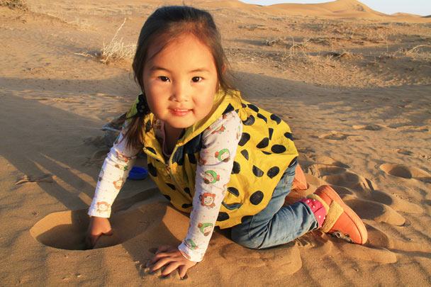 A local child with a gorgeous smile - Alashan Desert, Inner Mongolia, 2014/05