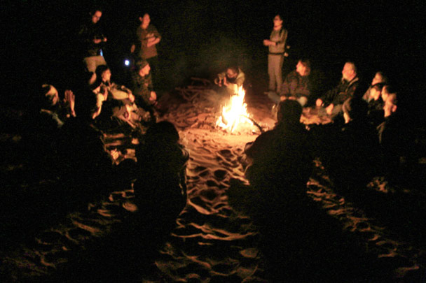 After dinner, a bonfire at the campsite - Alashan Desert, Inner Mongolia, 2014/05