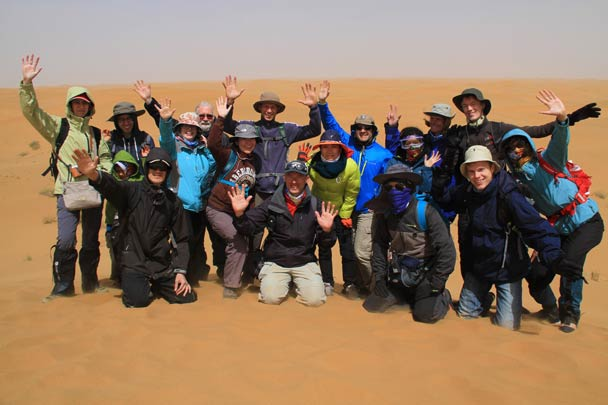 The hiking team - Alashan Desert, Inner Mongolia, 2014/05
