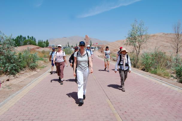 We started a hike in the Zhangye Geological Park - Zhangye Danxia Landform and Jiayuguan, Gansu Province, May 2014