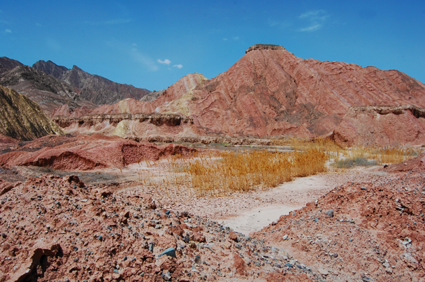 Views of beautifully coloured hills - Zhangye Danxia Landform and Jiayuguan, Gansu Province, May 2014