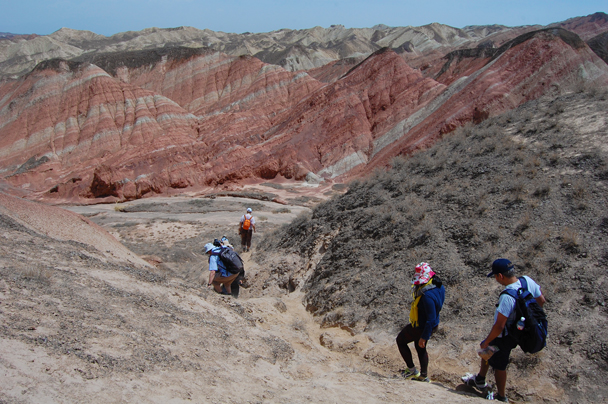 A valley trail - Zhangye Danxia Landform and Jiayuguan, Gansu Province, May 2014