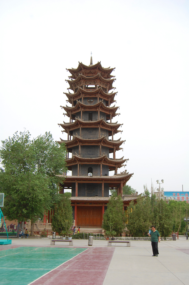 A wooden pagoda - Zhangye Danxia Landform and Jiayuguan, Gansu Province, May 2014