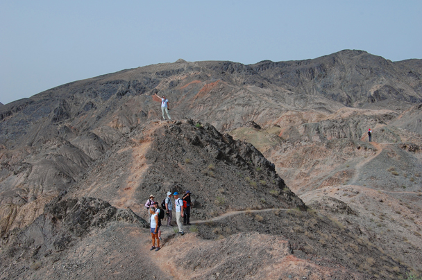 We climbed up here to get a view of the Jiayuguan Fortress, far below - Zhangye Danxia Landform and Jiayuguan, Gansu Province, May 2014