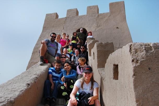 Group photo up on the wall - Zhangye Danxia Landform and Jiayuguan, Gansu Province, May 2014