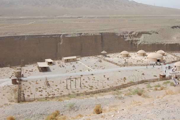 A reconstruction of ancient barracks that were sited by a river canyon - Zhangye Danxia Landform and Jiayuguan, Gansu Province, May 2014