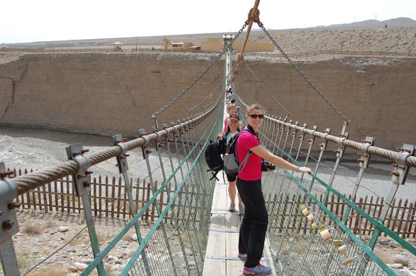 The only way over the river – a swingbridge - Zhangye Danxia Landform and Jiayuguan, Gansu Province, May 2014