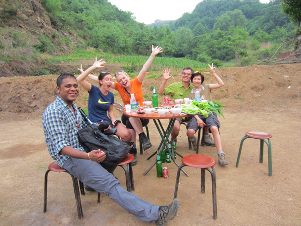 We stopped at a farmer friend's house for a few cold beers before heading up to the Great Wall - Camping at the Gubeikou Great Wall, May 2014