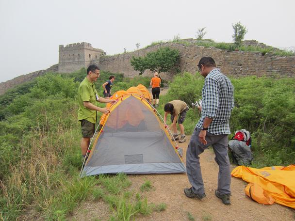 Setting up camp - Camping at the Gubeikou Great Wall, May 2014