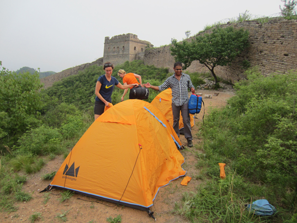 Teamwork for the tents - Camping at the Gubeikou Great Wall, May 2014
